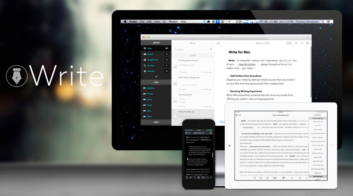 Write — бескомпромиссный markdown-заметочник для iOS и OS X