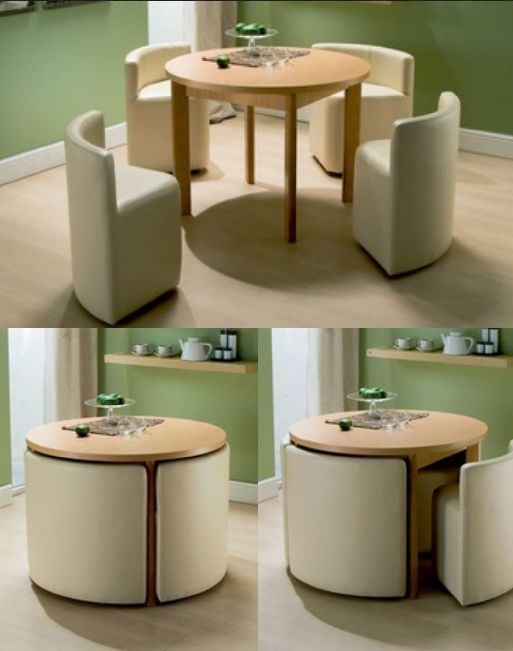 Space saving dining room table and chairs