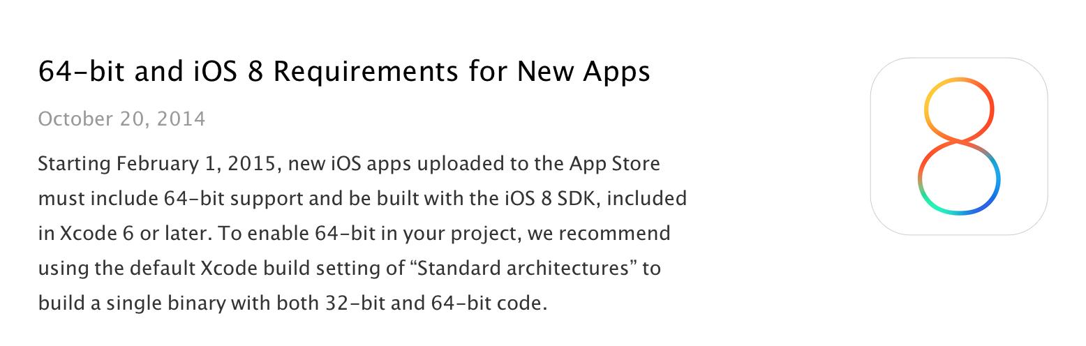 Все новые приложения в App Store с 1 февраля будут 64-битными