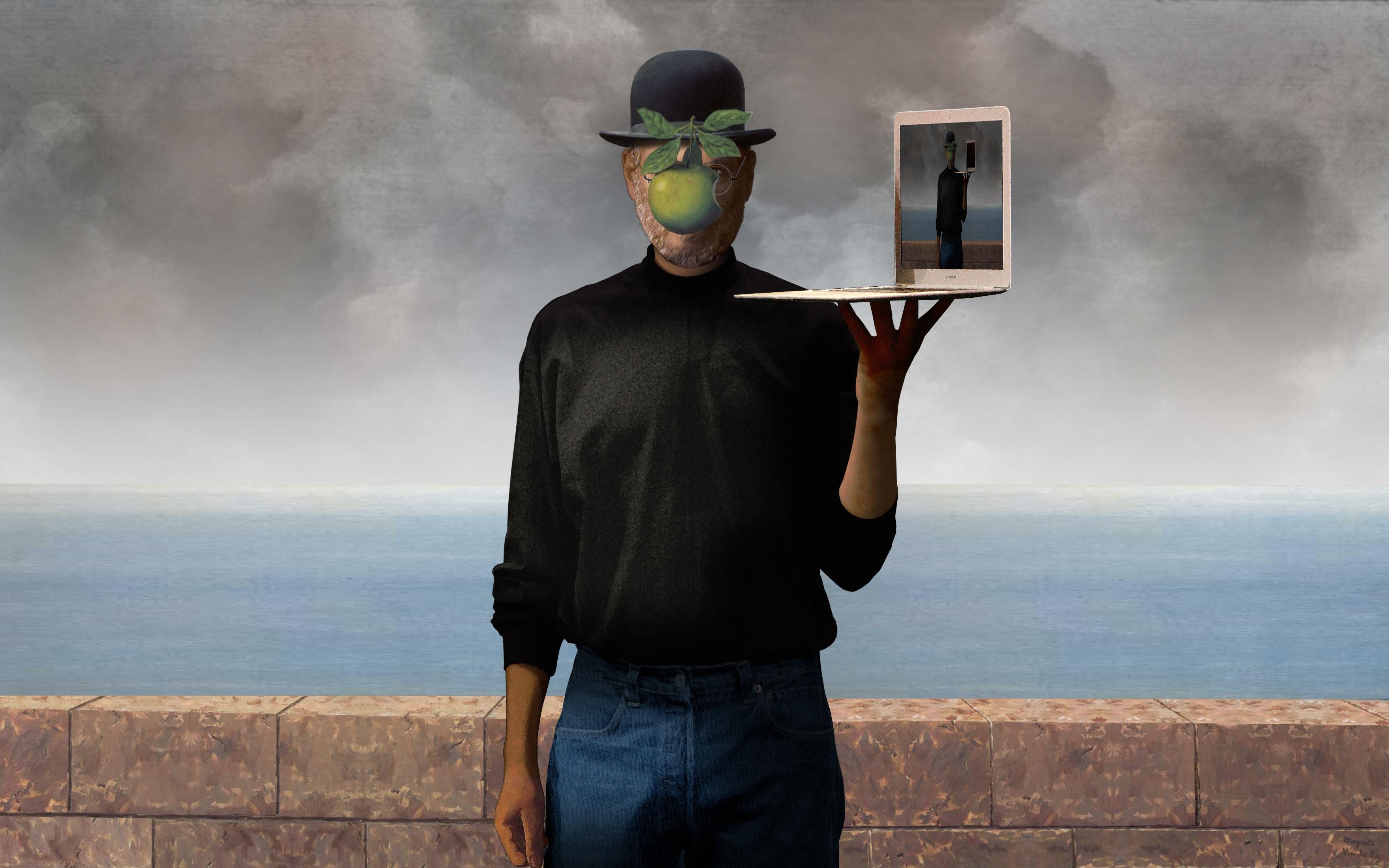 Человек с яблоком вместо лица 12 фотография