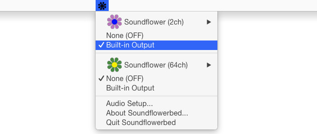 Съем звука с «микрофона» Soundflower и передача его на динамики