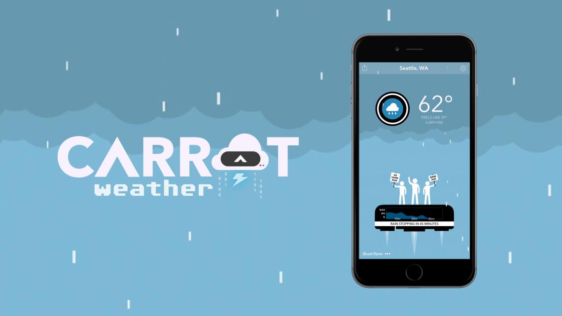 Carrot Weather для iOS —погода с сарказмом и чувством юмора
