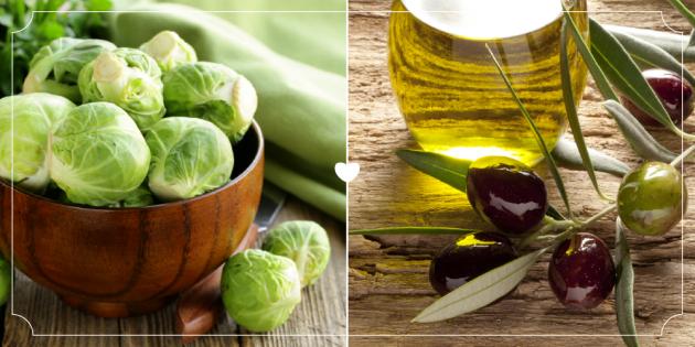 Брюссельская капуста и оливковое масло