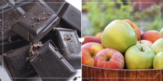 Черный шоколад и яблоко