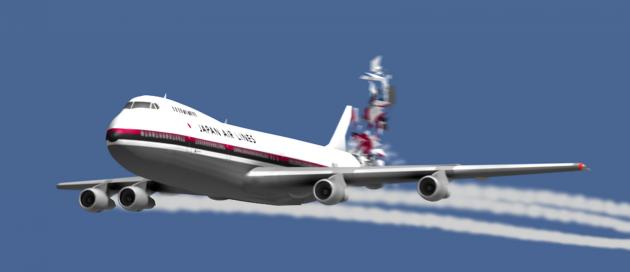 Компьютерная реконструкция аварии Boeing 747 над Токио в 1985 году