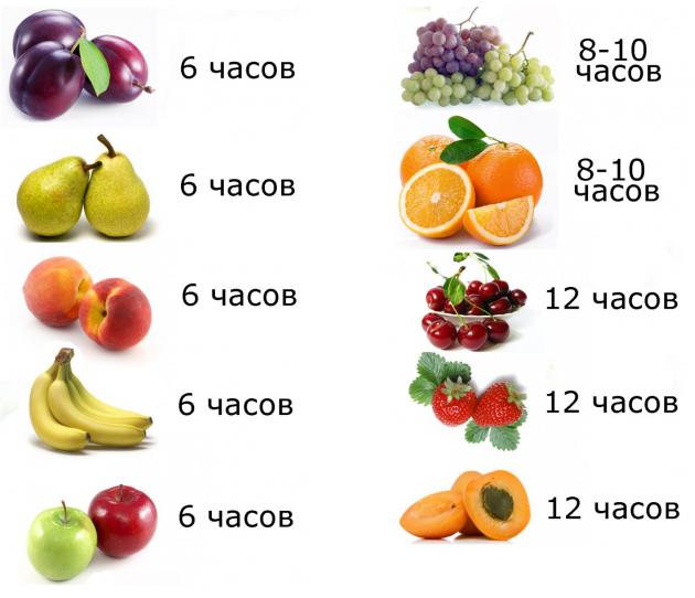 Сколько сушить фрукты