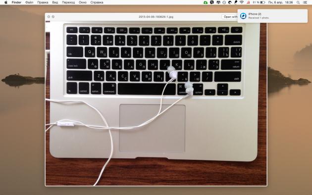 Скопированный с iOS на Mac снимок открывается мгновенно