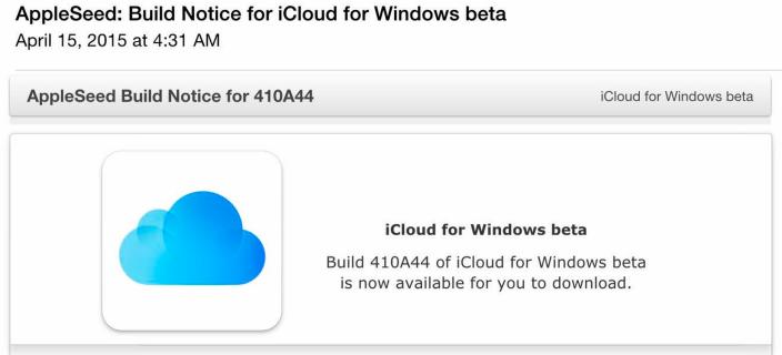 Apple выпустила новый билд iCloud for Windows под номером 410A44