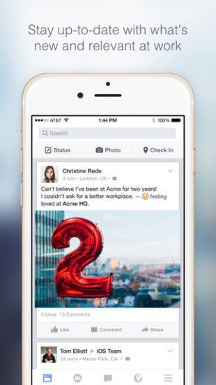 Приложение Facebook at work