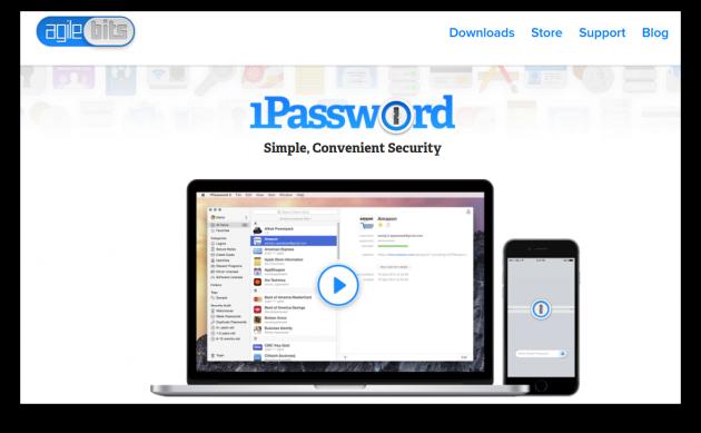 1Password screen