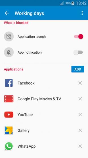 AppBlock: список приложений