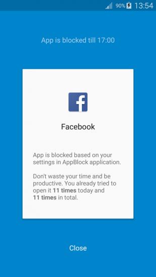 AppBlock: блокировка Facebook