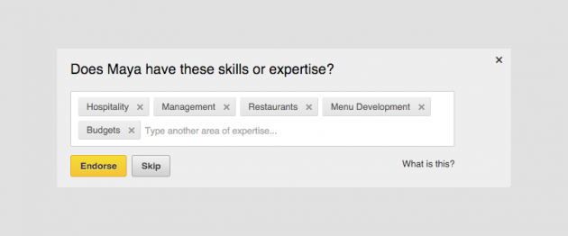 Endorse в LinkedIn