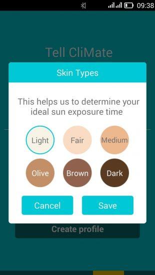 Rooti CliMate: выбираем тип кожи в приложении