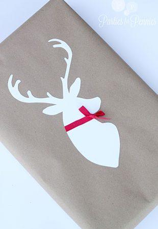 Аппликация с оленем на новогоднем подарке