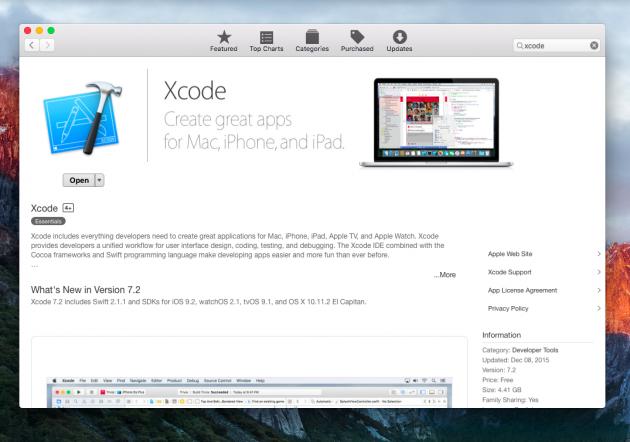 Устанавливаем Xcode