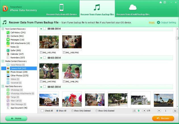 Tenorshare iPhone Data Recovery: отображение выбранных файлов