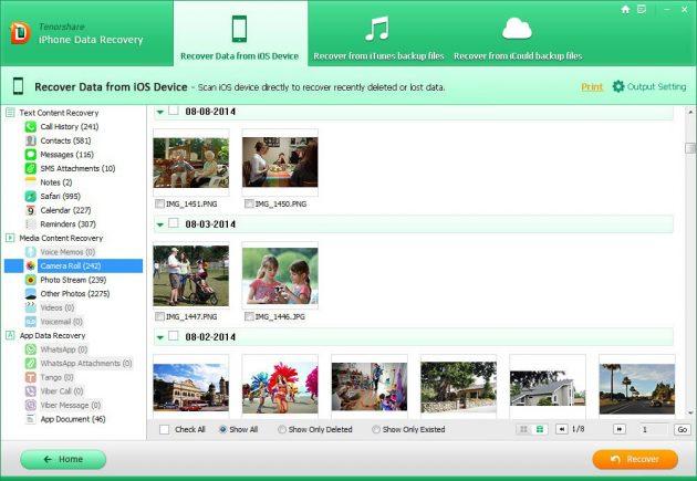 Tenorshare iPhone Data Recovery: обнаруженные файлы