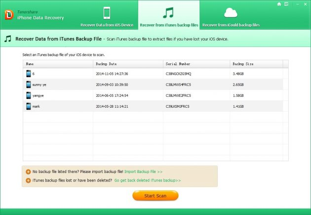 Tenorshare iPhone Data Recovery: бэкапы