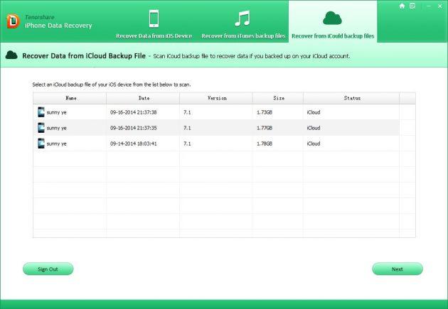 Tenorshare iPhone Data Recovery: выбор нужного бэкапа