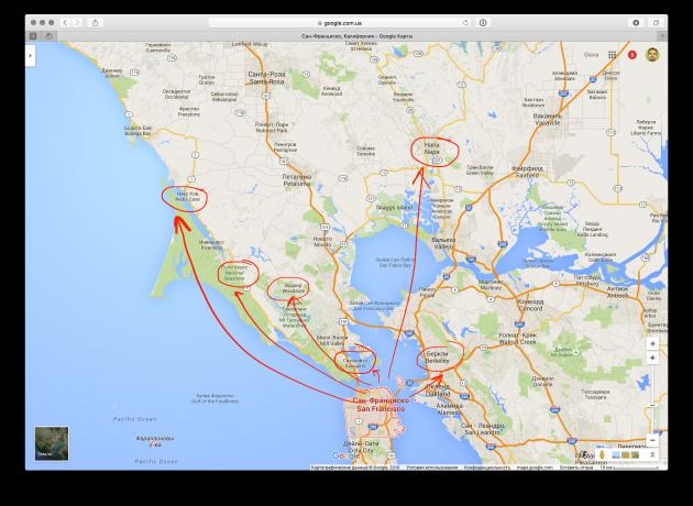 Главные направления Сан-Франциско и окрестностей