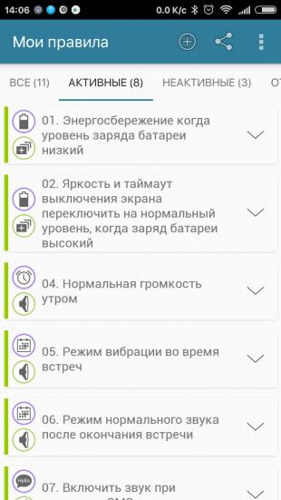 AutomateIt: раздел «Мои правила»