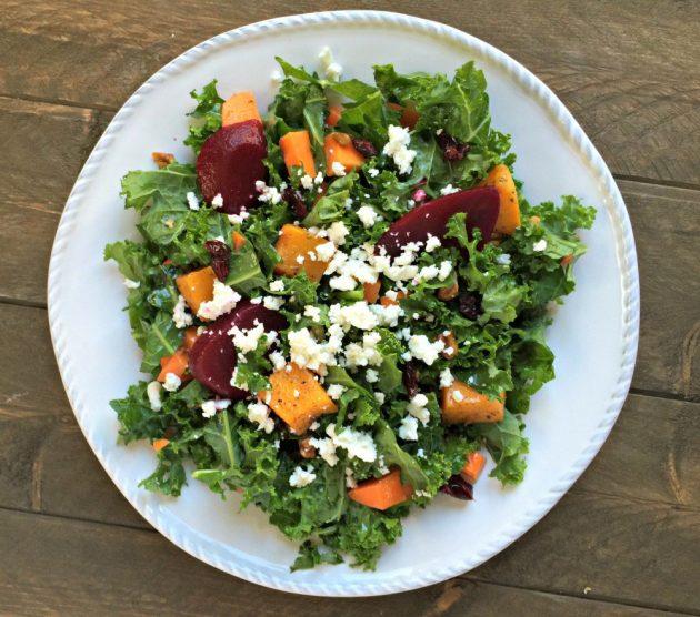 Витаминный салат с тыквой, фетой и свёклой