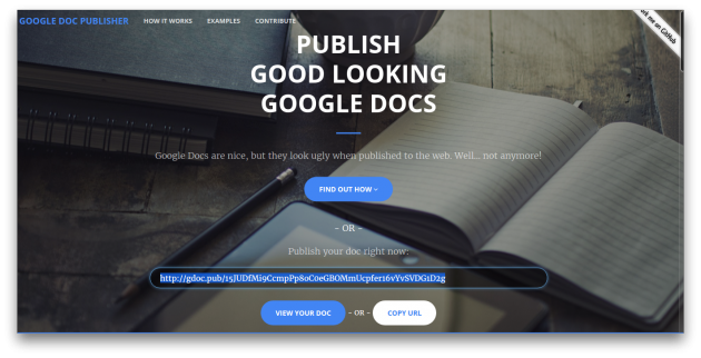 Google Doc Publisher main page