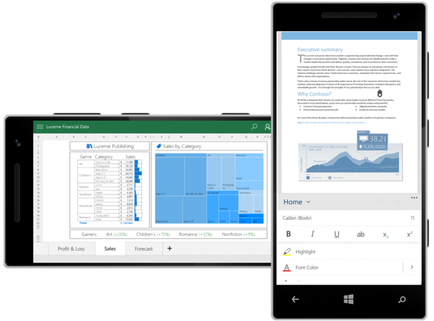 Windows 10 Mobile: приложения MS Office