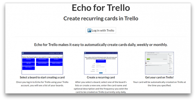 Echo for Trello screen
