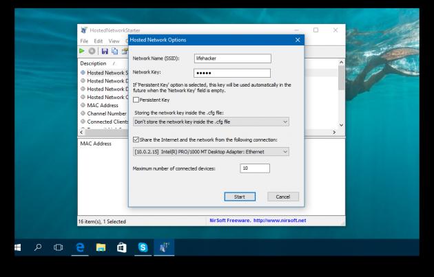 HostedNetworkStarter и точка доступа в Windows