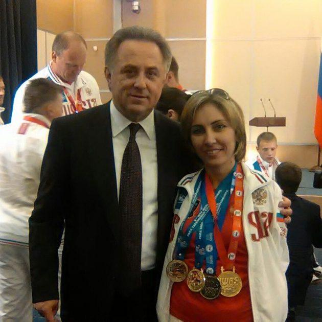Сакинат Магомедова с министром спорта Виталием Мутко