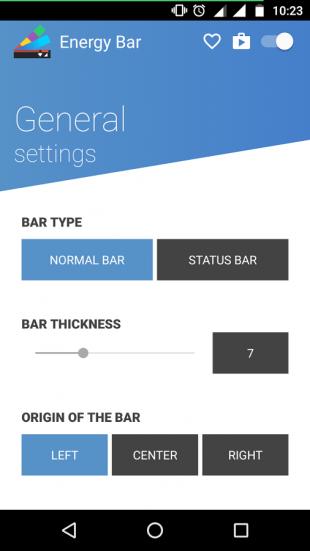Energy Bar options