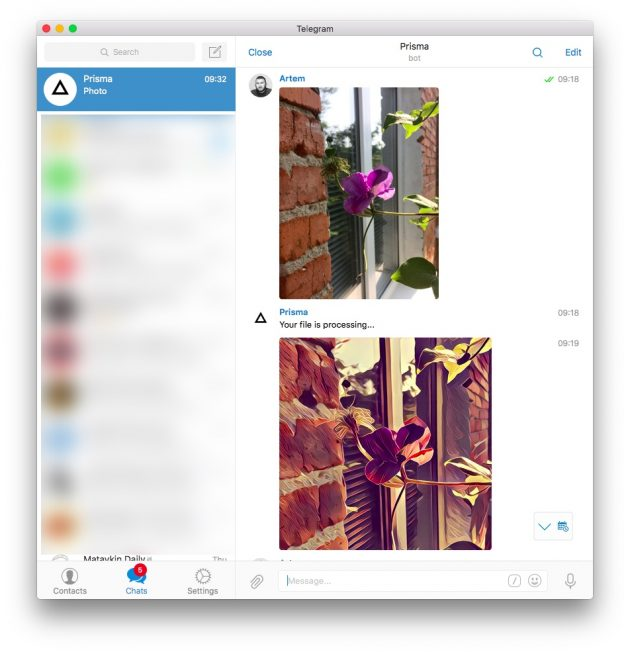 Бот Prisma в Telegram