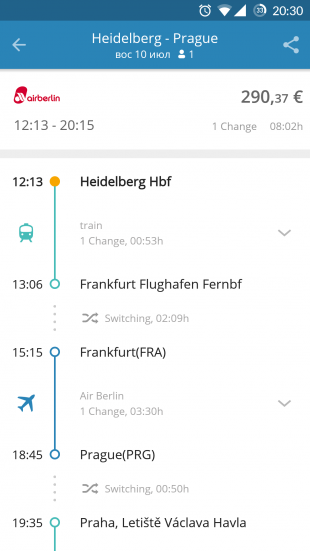 GoEuro: сравнение маршрутов