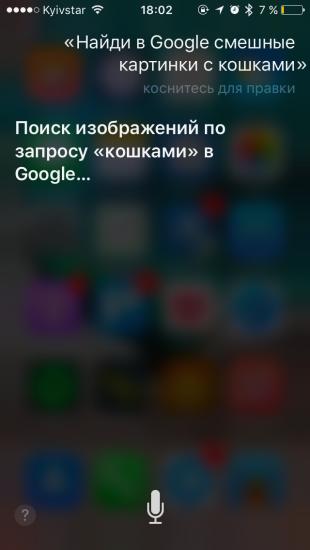 Команды Siri: поиск изображений