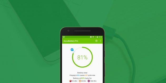 AccuBattery для Android оценивает остаточную ёмкость аккумулятора и продляет срок его службы