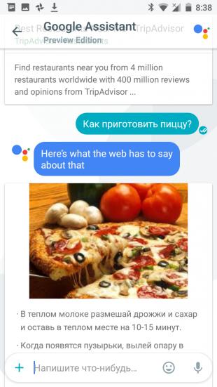 Google Allo: ответ на вопрос пользователя