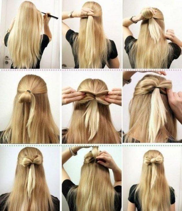 Причёски в школу: бант из волос
