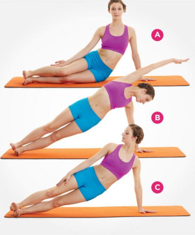упражнения из пилатеса для плоского живота динамическая боковая планка