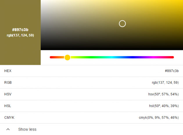 Цветовая палитра в поиске Google