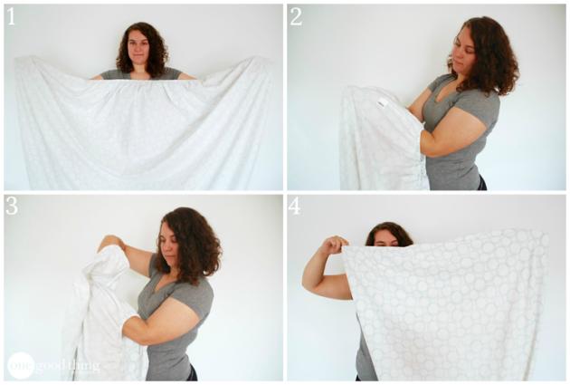 как сложить одежду: простыня