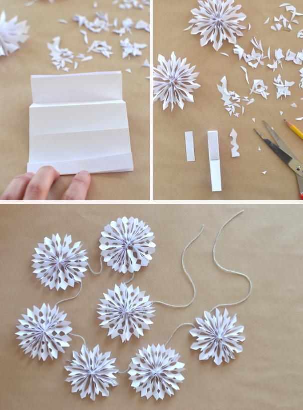 Как сделать гирлянду снежинку своими руками