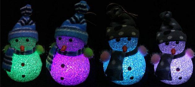 новогодние товары: светящиеся снеговики