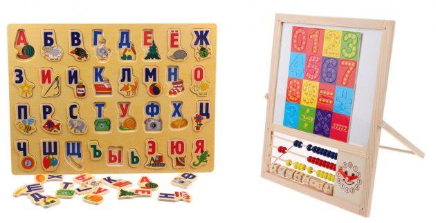 Обучающие доски с буквами и цифрами