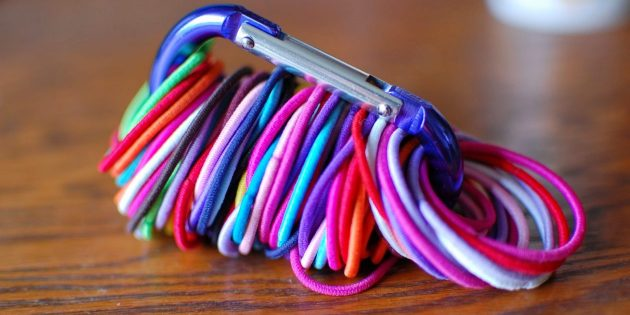 хранение мелочей: карабин для резинок