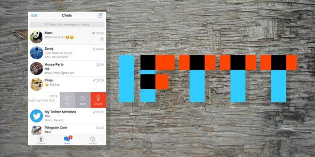 Обновление Telegram: интеграция с IFTTT, закреплённые чаты и улучшенный фоторедактор
