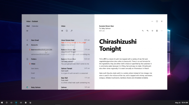 Project NEON Windows 10 mail