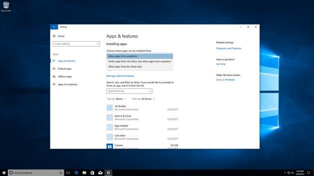 Windows 10: опции