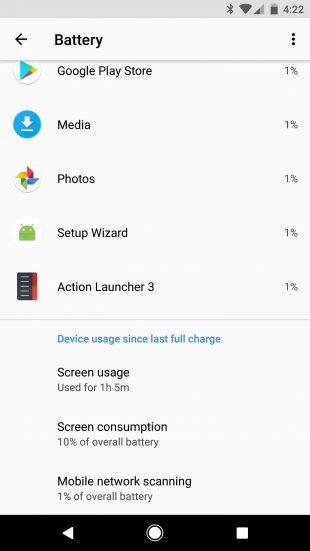 Android O: статистика батареи